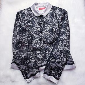 Anne Klein Black Lace & Silver Silk Blazer
